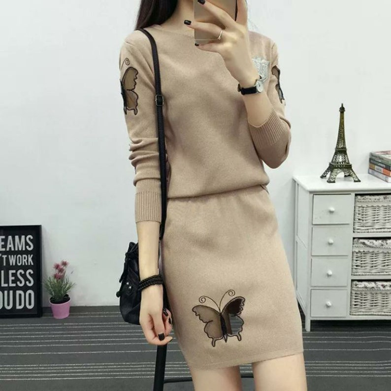 Cultivate One/'S Morality Package Buttocks Short Skirt Round Neck Long Sleeve Coat Sweater Dress Suit