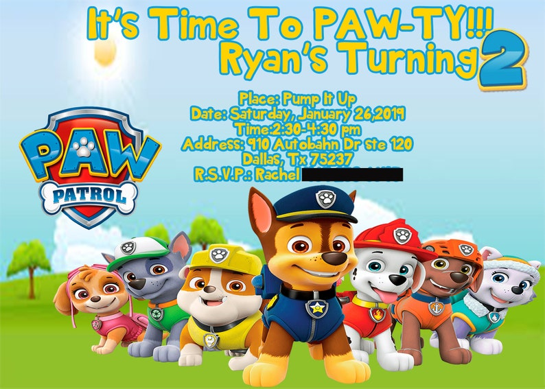 picture regarding Paw Patrol Printable Invitations named Paw Patrol Printable Invitation