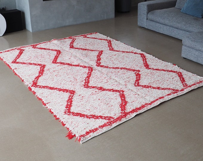 Double recycled cotton rug thick white and Red patterns geometric eco friendly ethical reversible style Berber