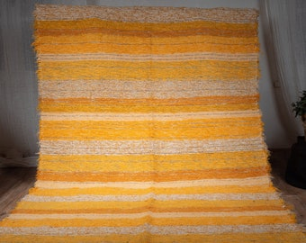 Simple cotton rug recycled ethical ecological interior contemporary multicolored orange