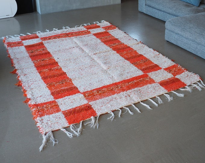 Double recycled cotton rug patterns orange white thick geometric reversible pattern ecological ethical