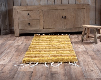 Mustard yellow carpet mustard cotton recycled eco-friendly contemporary interior for corridor descent of bed. 60cm 180cm