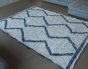 Recycled cotton rug white and blue reversible sustainable eco-friendly ethics type Berber design Scandinavian boho chic contemporary