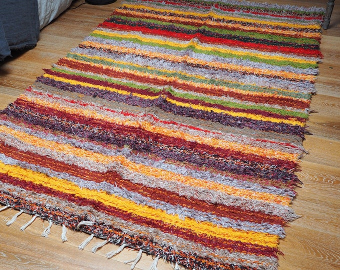 Double cotton recycled multicolored ethical eco-friendly comfortable and carpet design Scandinavian