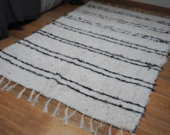 Carpet cotton double recycled off white with black type inspired Berber carpet Beni Ouarain ethical eco-friendly and design Scandinavian