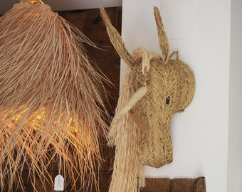 Head of Unicorn esparto natural wall decoration hand braid traditional Andalusian ethical ethical sustainable fair trade