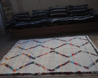 Tapis  coton  recyclé blanc  motifs géométriques multicolores  reversible multicolore motifs  blancs éthique  écologique  design  berbere