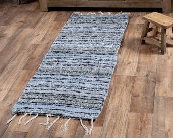 Grey cotton carpet recycled eco-friendly contemporary interior for corridor down bed. 60cm 180cm