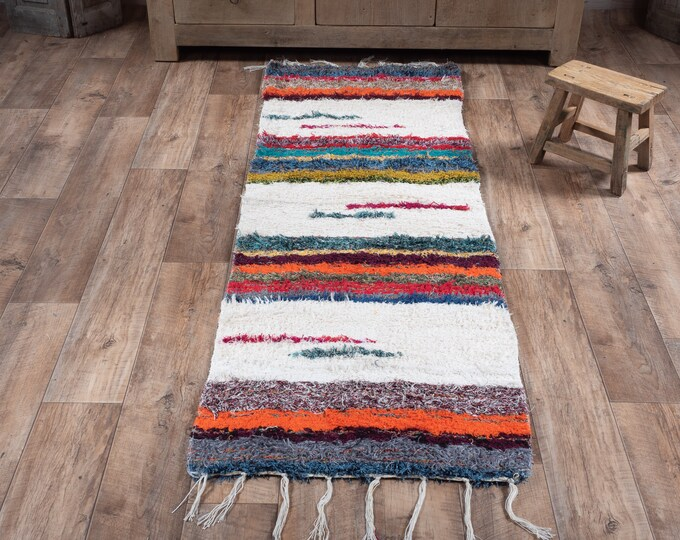 Multicolored white cotton strip recycled eco-friendly contemporary interior for corridor down bed. 60cm 180cm