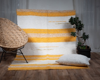 Simple cotton rug recycled ethical ecological eco-friendly contemporary ecru multicolored yellow