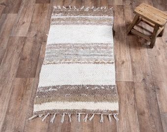 Carpet brown white stripe double cotton recycled eco ecological contemporary interior bed descent. 60cm 120cm