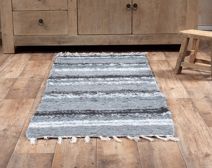 Grey cotton carpet recycled eco-friendly contemporary interior for corridor down bed. 60cm 180cm