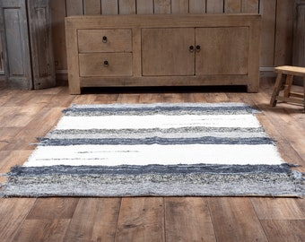 Simple cotton rug grey white stripes recycled eco-friendly contemporary interior 120cm 170cm