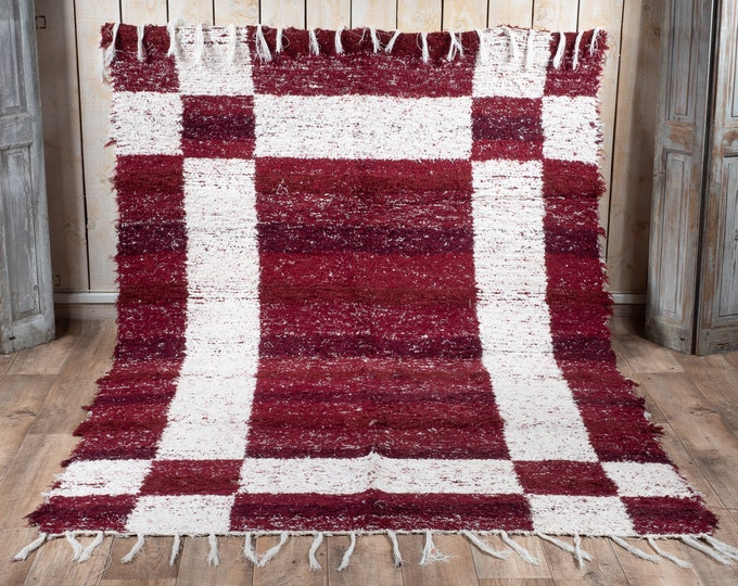 Double-thick recycled cotton rug patterns reversible burgundy white ethical lying grounds 170cm240cm