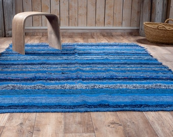 Simple cotton rug recycled blue ethical ecological eco-friendly contemporary multicolored orange 170cm 240 cm