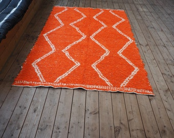 Recycled cotton rug motifs and white double layer geometric orange orange patterns reversible eco friendly ethical white Berber style