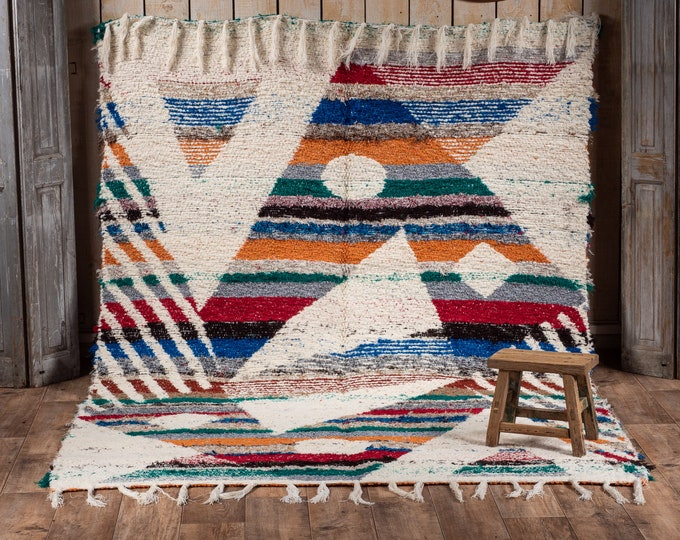 Double-thick recycled cotton rug multicolored white geometry patterns reversible ecological ethics 170/240