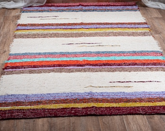 Simple cotton rug recycled ethical eco-friendly contemporary ecru multicolored ecru
