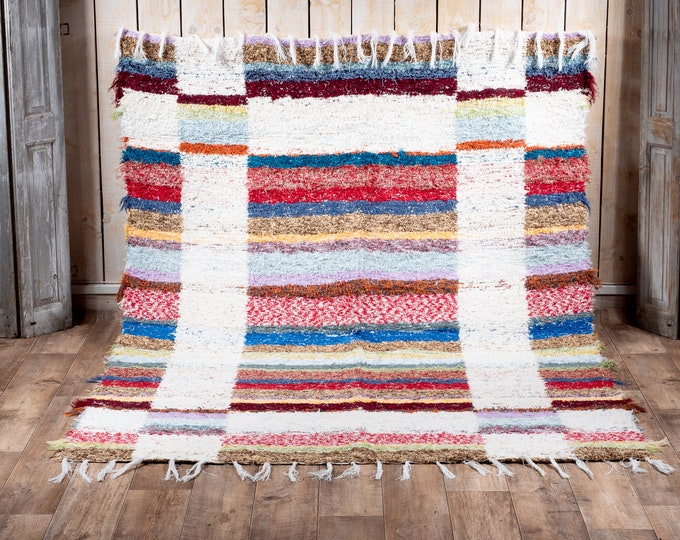 Double-thick recycled cotton rug patterns white geometry reversible white multicolored patterns ecological ethics 170cm230cm