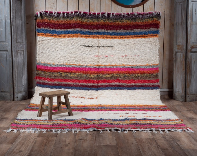 Double cotton carpet recycled multicolor white stripes 170/240 comfortable eco ethics and contemporary Scandinavian design