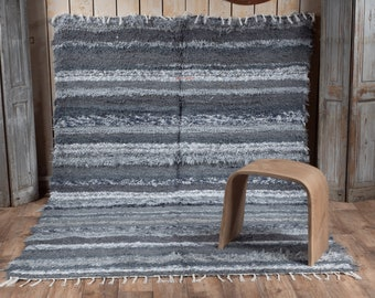 Grey recycled cotton double carpet 170/240 comfortable eco-ethics and contemporary Scandinavian design