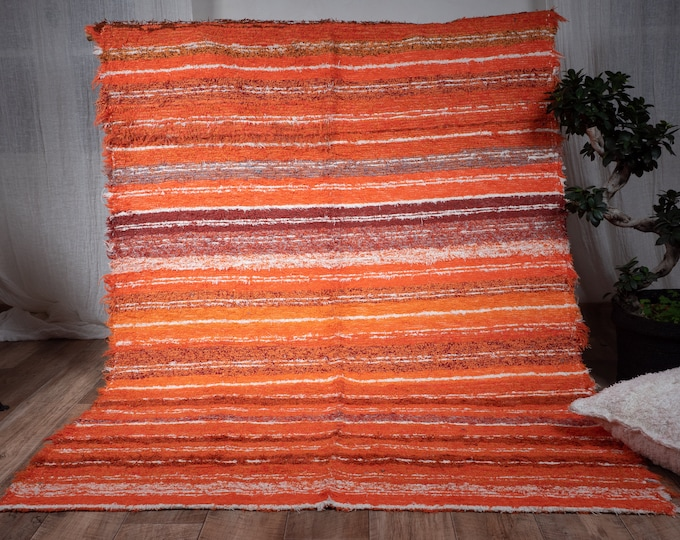 Organic eco-friendly cotton carpet contemporary orange multicolored interior