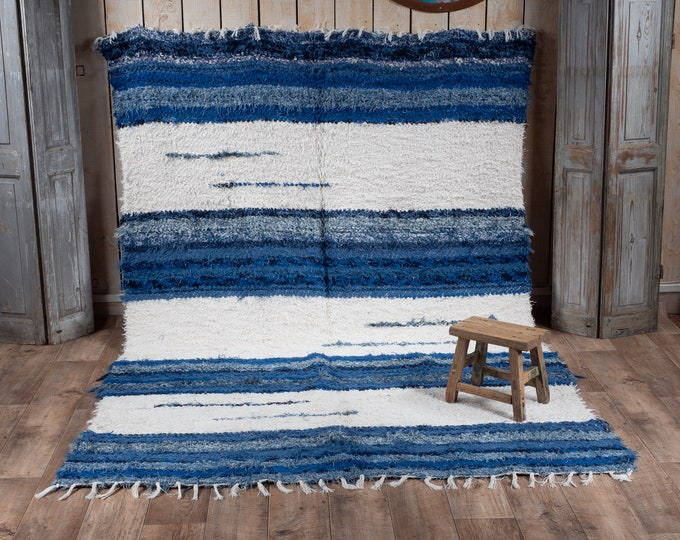 170/240 recycled cotton carpet blue and white 170/240 comfortable eco-ethics and contemporary Scandinavian design