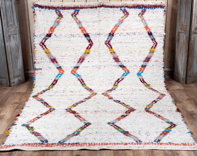 White recycled cotton rug multicolored geometric patterns reversible ethical eco-friendly design berbere 170cm 240cm