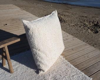 housse de coussin blanc   coton  recyclé éthique  écologique  intérieur contemporain lavable idéal sol confort couleur écru