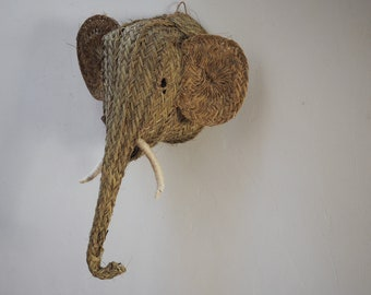 Natural esparto elephant head wall hanging woven hand crafts traditional Andalusian ethical eco friendly sustainable fair trade