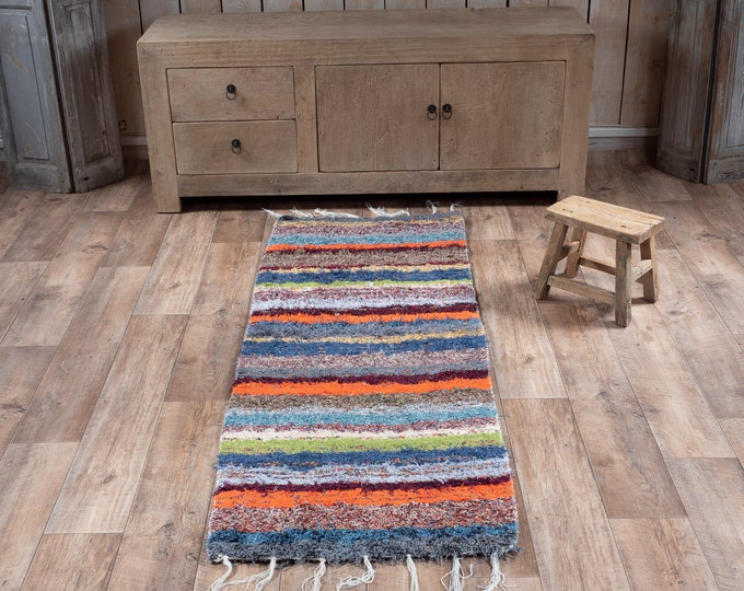 Multicolored cotton carpet recycled eco-friendly contemporary interior for corridor down bed. 60cm 180cm
