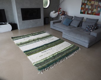 Recycled cotton double mat white and green design and comfortable eco-friendly ethics contemporary Scandinavian fair trade