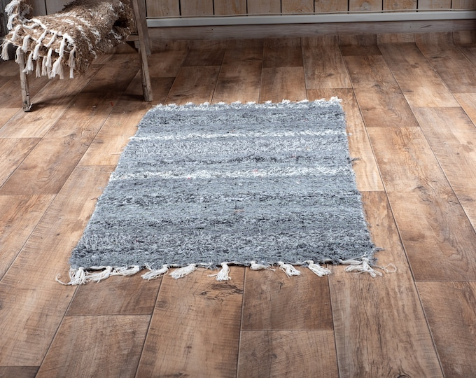 Double grey carpet recycled cotton recycled eco-friendly contemporary interior descent. 60cm 120cm