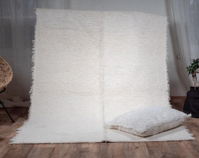 Simple cotton rug recycled eco-friendly contemporary interior ecru