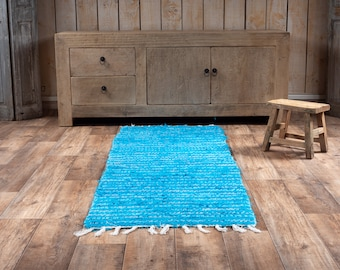 Double turquoise blue carpet recycled cotton eco-friendly interior contemporary bed drop. 60cm 180cm