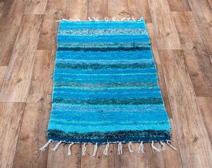 Double turquoise carpet recycled cotton eco-friendly interior carpet contemporary bed descent. 60cm 120cm