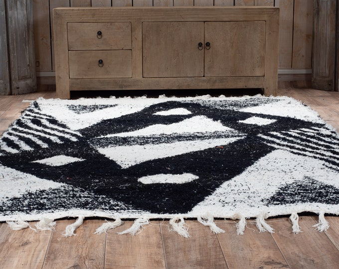 Recycled cotton carpet double-thick black and white white geometry patterns reversible ecological ethics 170/240