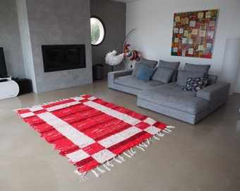 Double recycled cotton rug patterns red white thick geometric reversible contemporary ethical eco-friendly designs