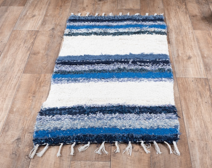 Blue carpet white stripe double cotton recycled eco ecological contemporary interior bed descent. 60cm 120cm