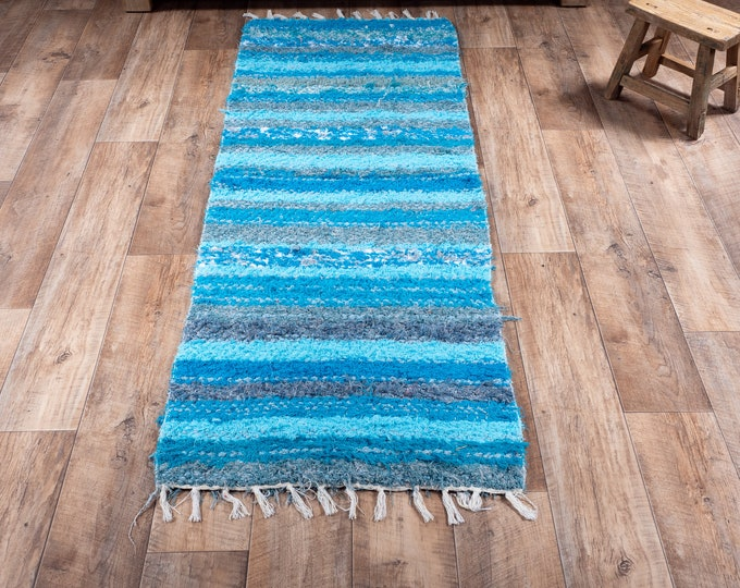 Double-grey turquoise blue carpet double cotton recycled eco-friendly interior contemporary bed drop. 60cm 180cm