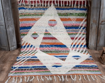 Double-thick recycled cotton rug multicolored patterns white geometry reversible ecological ethics 170/240