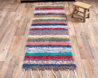 Multicolored cotton carpet recycled eco-friendly contemporary interior for corridor down bed. 60cm 180cm