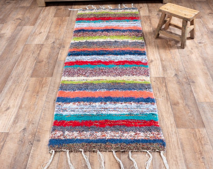 Multicolored double cotton carpet recycled eco-friendly contemporary interior for corridor down bed. 60cm 180cm