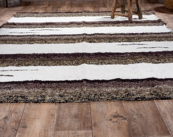 Simple cotton rug recycled ethical ecological eco-friendly contemporary interior brown white stripe 170cm 240 cm