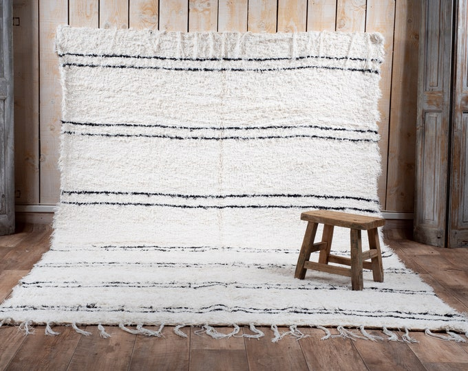 Double cotton carpet recycled ecru with black stripes Berber style inspired beni Ouarain carpet eco ethics and Scandinavian design