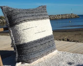 housse de coussin gris et blanc  coton  recyclé éthique  écologique  intérieur contemporain lavable idéal sol confort