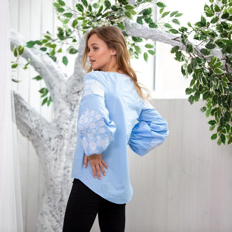 XS-XXL Blue embroidered blouse \u0421otton Blouse for women Blue boho blouse Ukrainian shirt Fashion boho blouse Blue Vishivanka Shirt Custom