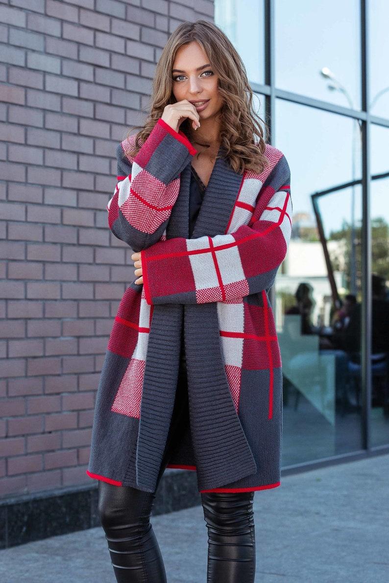 Check Wool Cardigan 6 Colors plus size cardigan Plaid Cardigan Women Maxi Cardigan Loose Cardigan Winter Cardigan jacket Long open cardigan