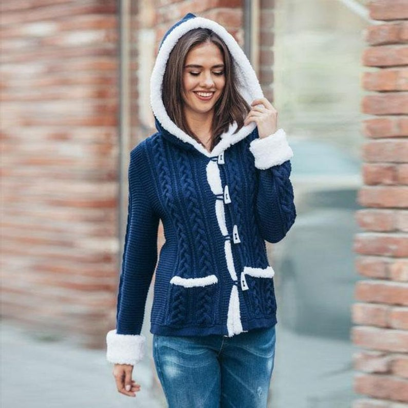 Womens oversized sweater with hood Warm sweater with pockets Wool sweater autumn Casual sweater handmade winter knitted clothing for women