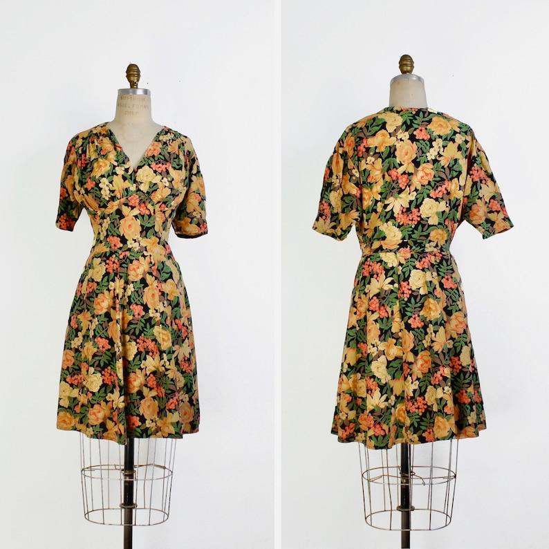1990s Vintage Floral Sleeveless Criss-Cross Back Rayon Midi Dress